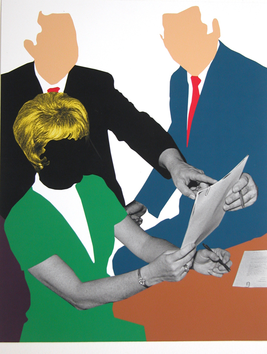 John Baldessari, Three Government Personnel Considering and/or Deciding, 2008. Gift of the Artist and Gemini G.E.L. LLC to th