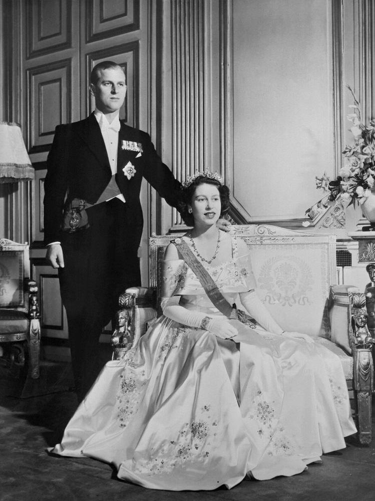 The Princess Elizabeth II of England and Philip The Duke of Edinburgh on their wedding day, November 20, 1947 in Buckingham P