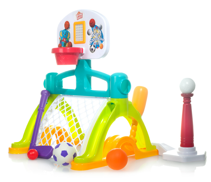 Why limit a future Hall of Famer's options? With this toy, the kid can practice basketball, baseball, golf, soccer and hockey
