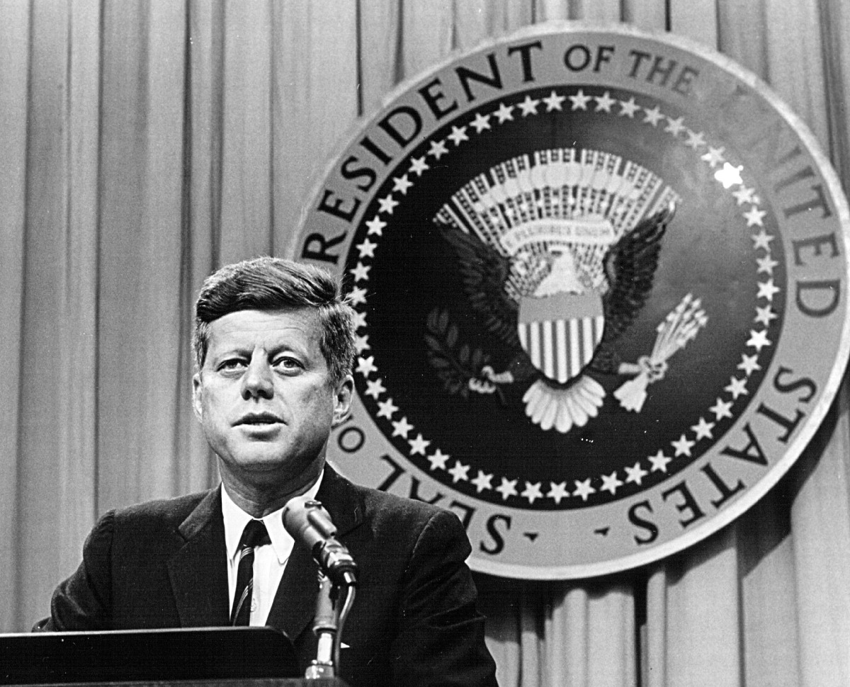 President John F. Kennedy speaks at a press conference on August 1, 1963. (Photo by National Archive/Newsmakers)