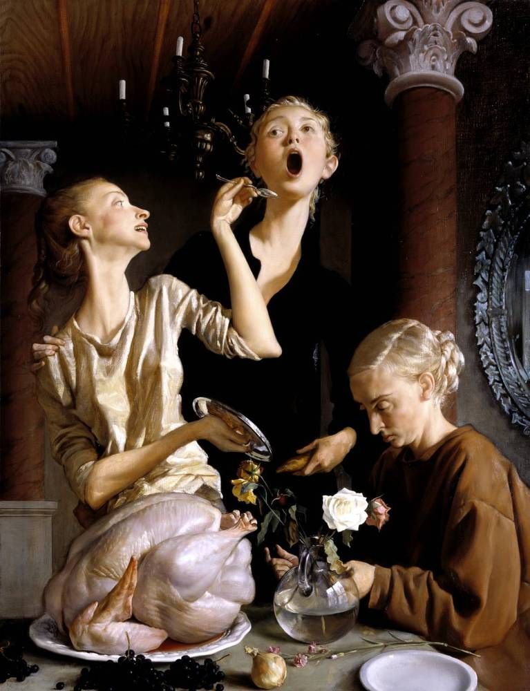 "Is this what your Turkey face looks like?  Image: John Currin, ""Thanksgiving,"" 2003"