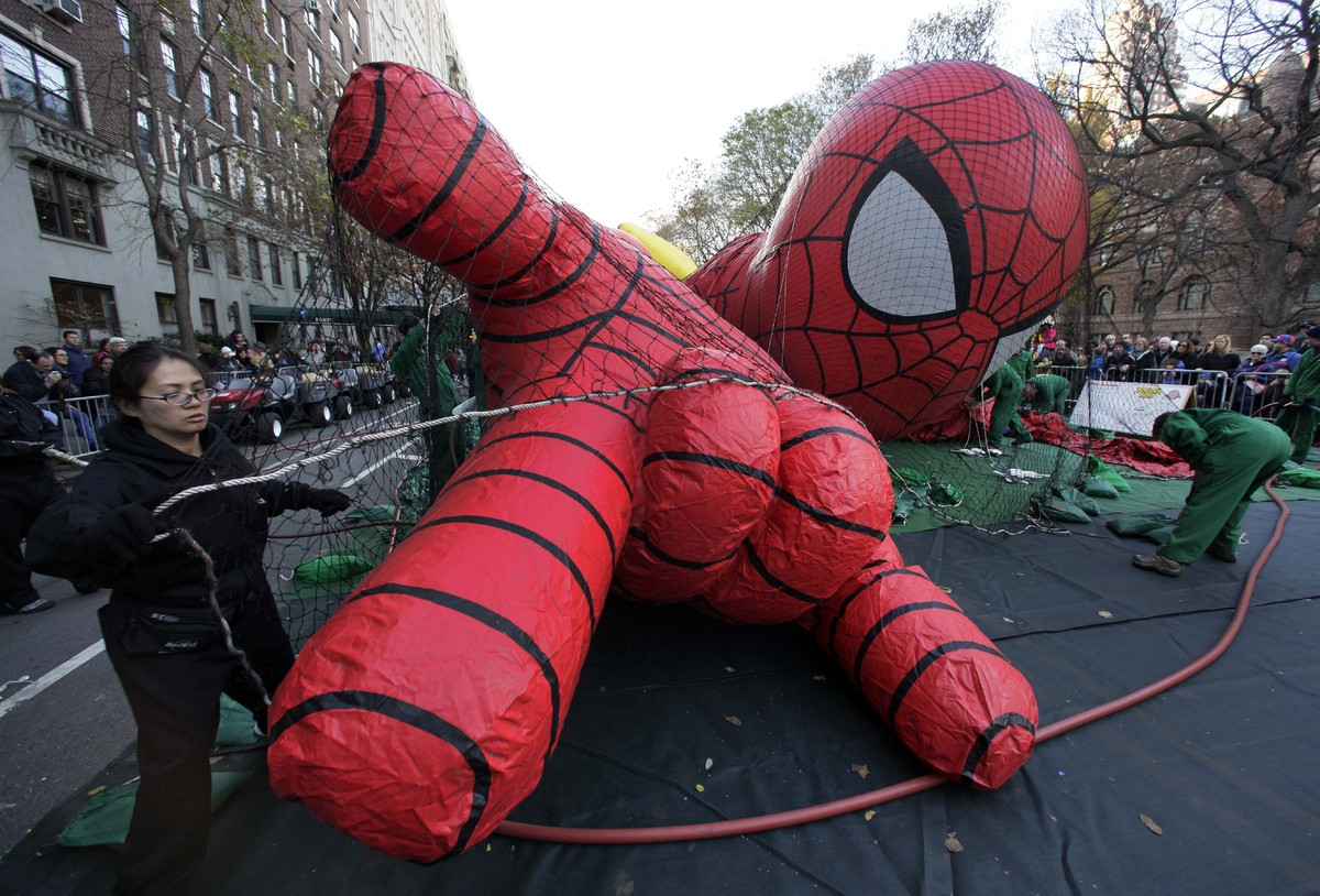 The Spider-Man balloon is inflated for the 86th annual Macy's Thanksgiving Day Parade, on New York's Upper West Side, Wednesd