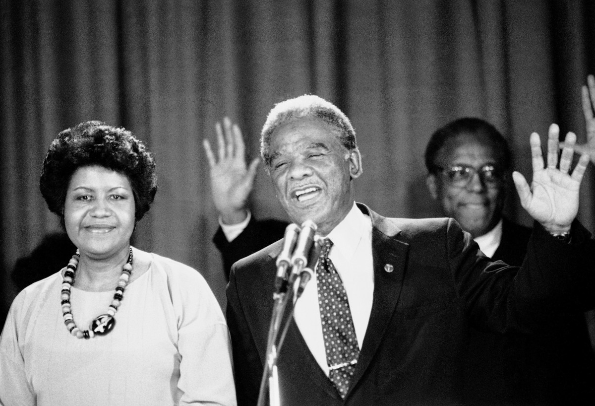 Harold Washington wipes his brow election night, April 12, 1983, as he addresses supporters after claiming victory over his o