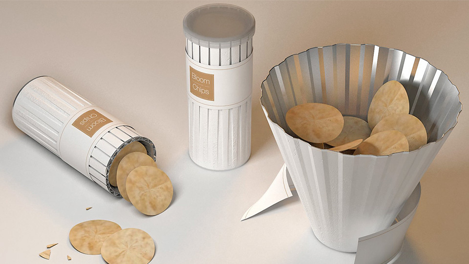 The concept of Bloom Chips, by designer Dohyuk Kwon, solves the problem of eating Pringles chips.