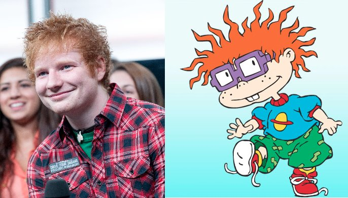 Ed Sheeran is a dead ringer for Chuckie Finster from <em>Rugrats</em>. Like Chuckie, Ed is famous for his wild red hair. Both