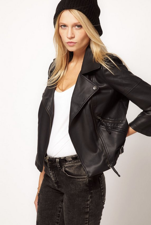 """ASOS Leather Look Quilted Biker Jacket, $65  <a href=""""http://us.asos.com/countryid/2/ASOS-PU-Quilted-Biker-Jacket/yl6mn/?iid="""