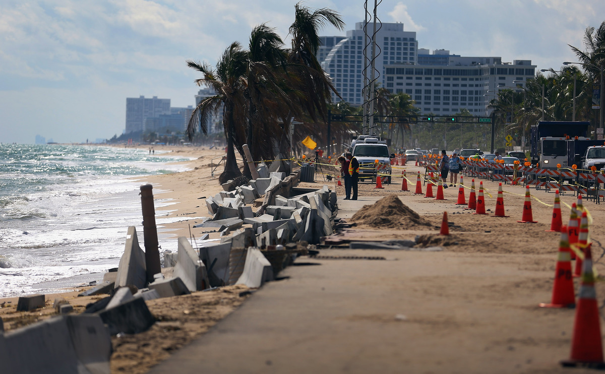 FORT LAUDERDALE, FL - NOVEMBER 27:  Cones mark off the damage caused by beach erosion along route A-1-A, making parts of it i