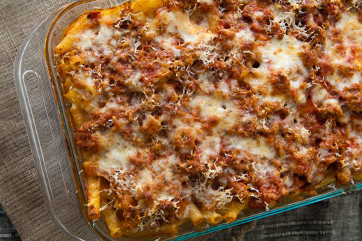 "<strong>Get the <a href=""http://www.simplyrecipes.com/recipes/baked_ziti/"">Classic Baked Ziti recipe</a> by Simply Recipes</s"
