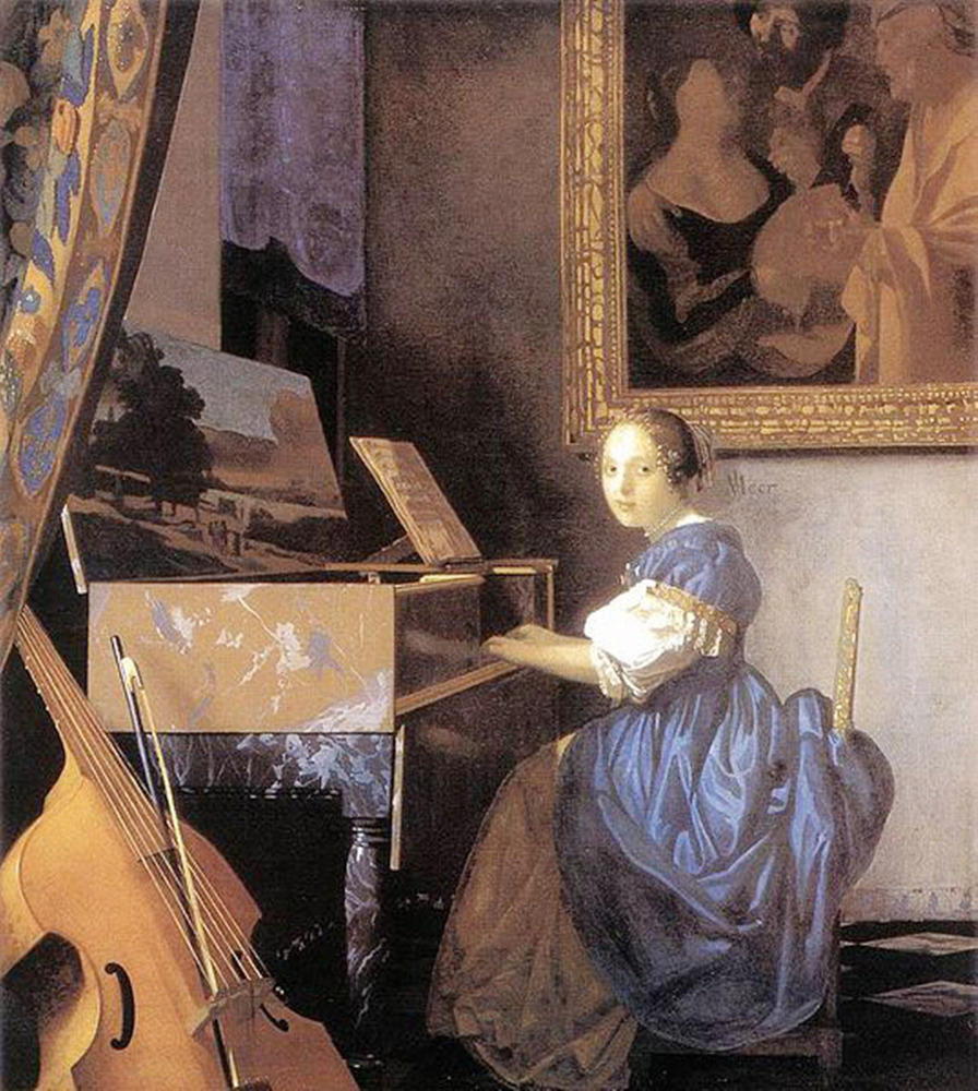 Jan Vermeer, Young Woman Seated at a Virginal, c.1673-75  They say that some paintings come to life and this artist has taken