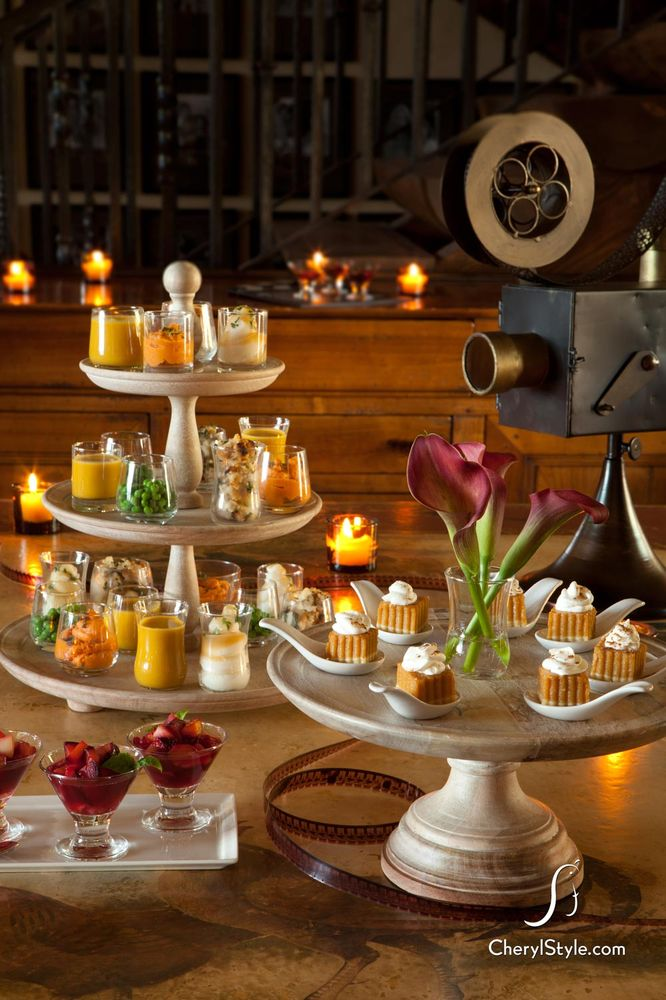These small votives are filled with leftovers that have been repurposed for another occasion. Pie is cut into small portions,