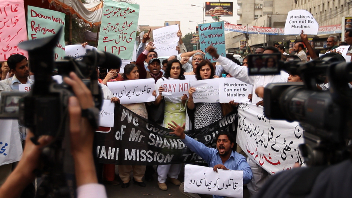 Protest after the assasination of Federal Minister for Religious Minorities Shahbaz Bhatti, Karachi.   Photo: Andreas Burgess