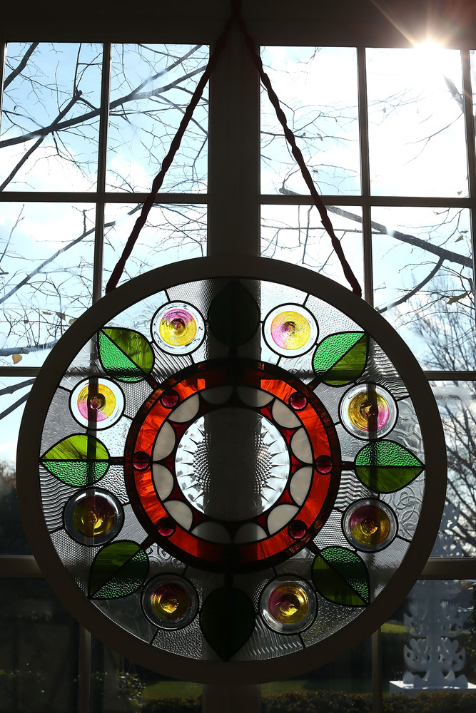 WASHINGTON, DC - NOVEMBER 28:  A stained glass window, created by Chicago-based artist David Lee Csicsko, is on display at th
