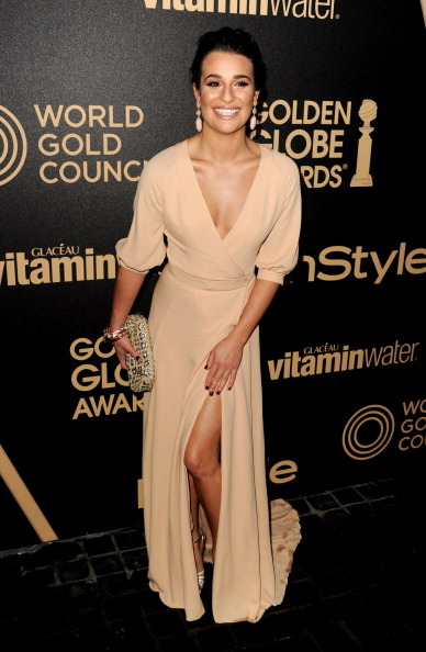 """Actress Lea Michele is never shy on the red carpet. This Glee girl is known to have a thing for<a href=""""http://www.huffington"""