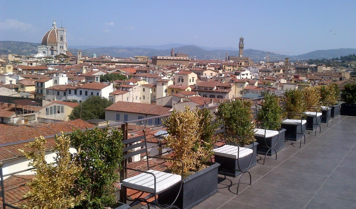 The view from Sesto, the rooftop bar and restaurant of the Westin Excelsior, provides a 360-degree sweep across Florence. Her
