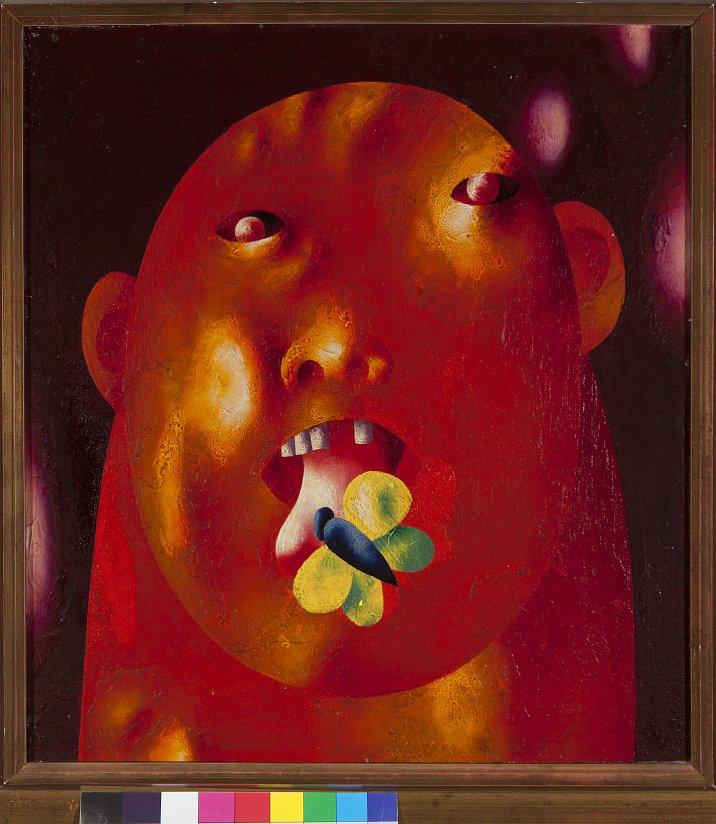 Oleg Tselkov, Portrait, 1969, 17 ¾ x 16 3/8 in