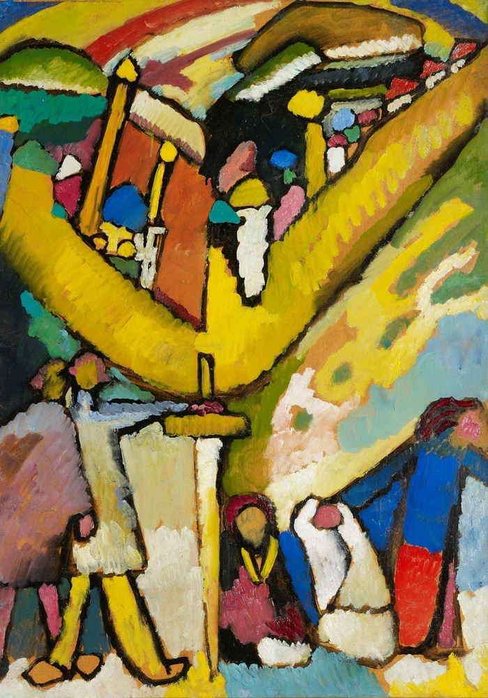 ARTIST: Russian abstract painter, Wassily Kandinsky (1866-1944) ARTWORK: Oil painting of religious pilgrims in Kiev painted i