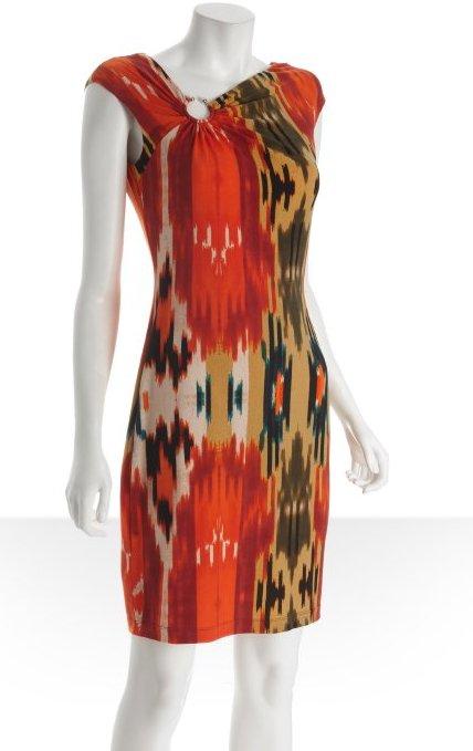 "<a href=""http://www.bluefly.com/calvin-klein-orange-printed-jersey-metal-u-bar-asymmetrical-gathered-cap-sleeve-dress/PRODUCT"