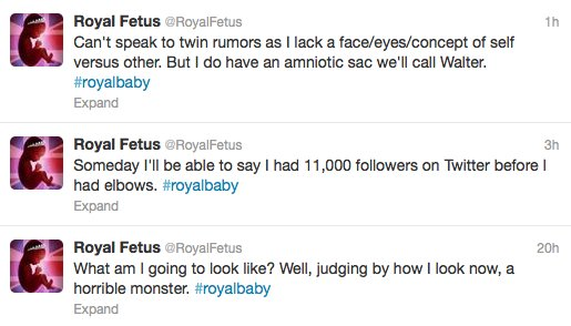 "Kate Middleton's unborn child already has <a href=""https://twitter.com/royalfetus"">a Twitter presence</a> because duh."