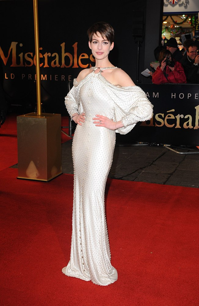 Anne Hathaway arrives at the premiere of Les Miserables at the Empire Leicester Square, London, UK