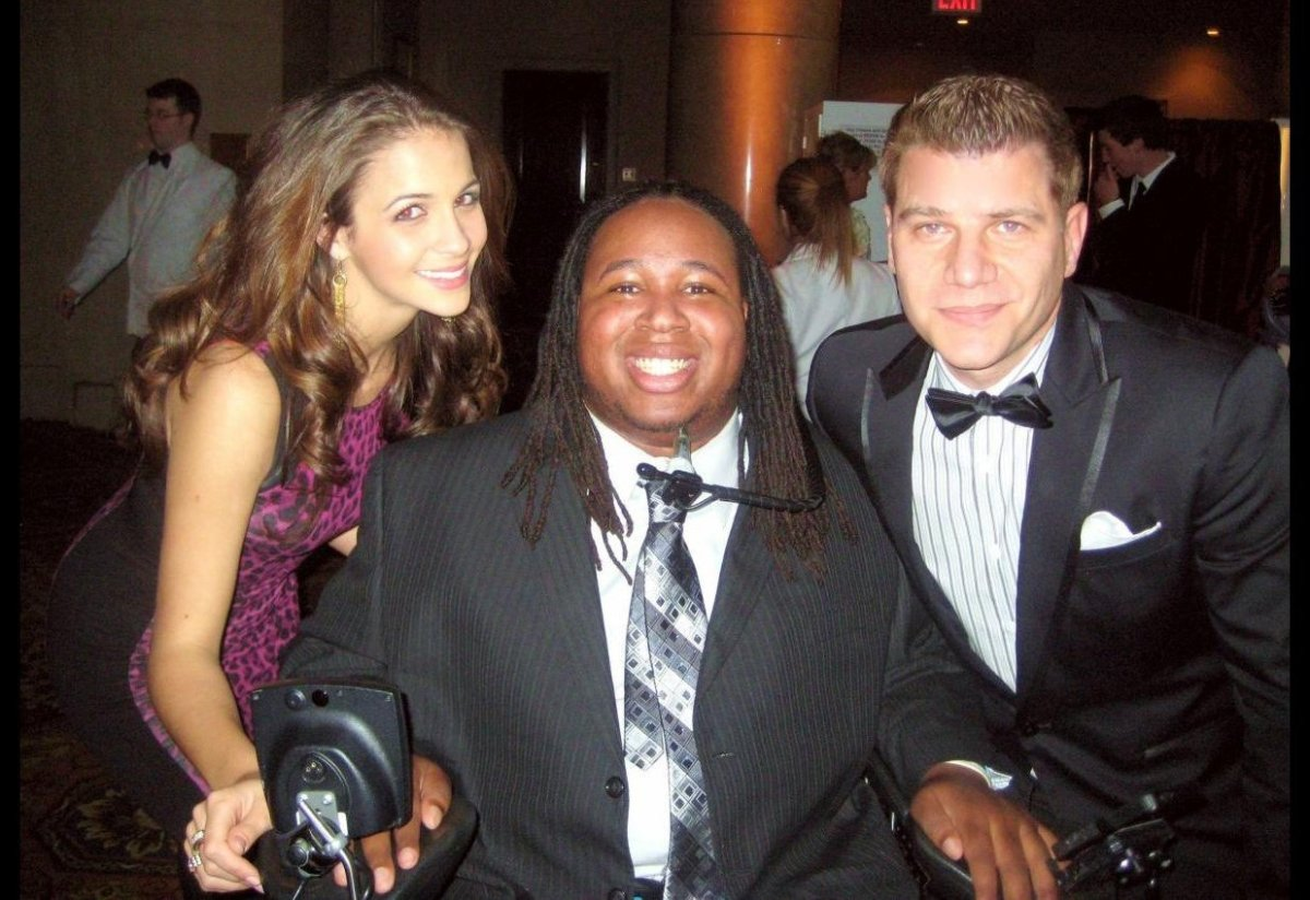 Miss New York 2011 Kaitlin Monte, footballer Eric Lagrand and TV host Tom Murro attend the Christopher Reeve Magical Evening