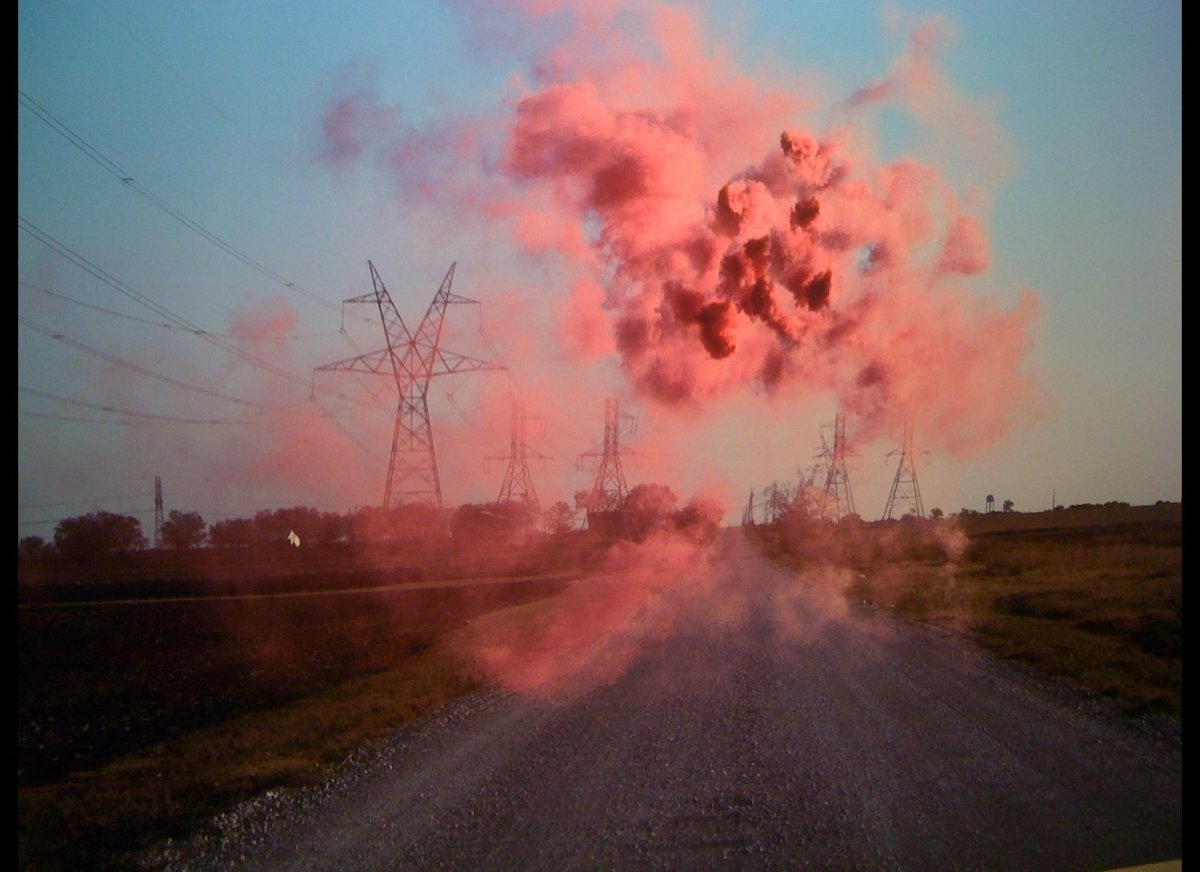 In Ellum, 500X bounced for joy. Irby Pace exhibited a series of landscape photographs, each confounded with smoky explosions