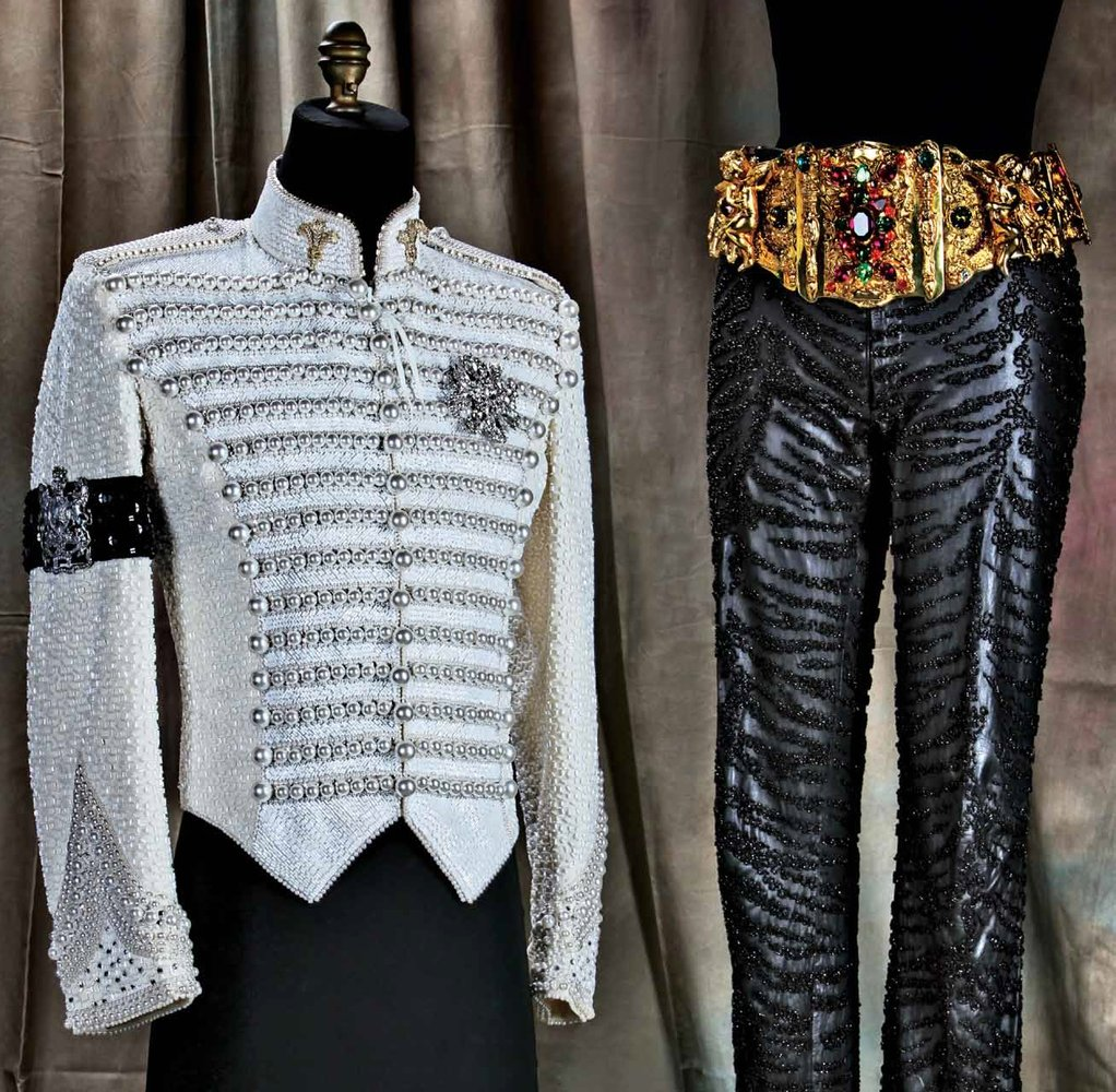 Michael Jackson's final ensemble. The jacket was based on the one he wore at the Grammy's in 1994. A rhinestone Tinker Bell w