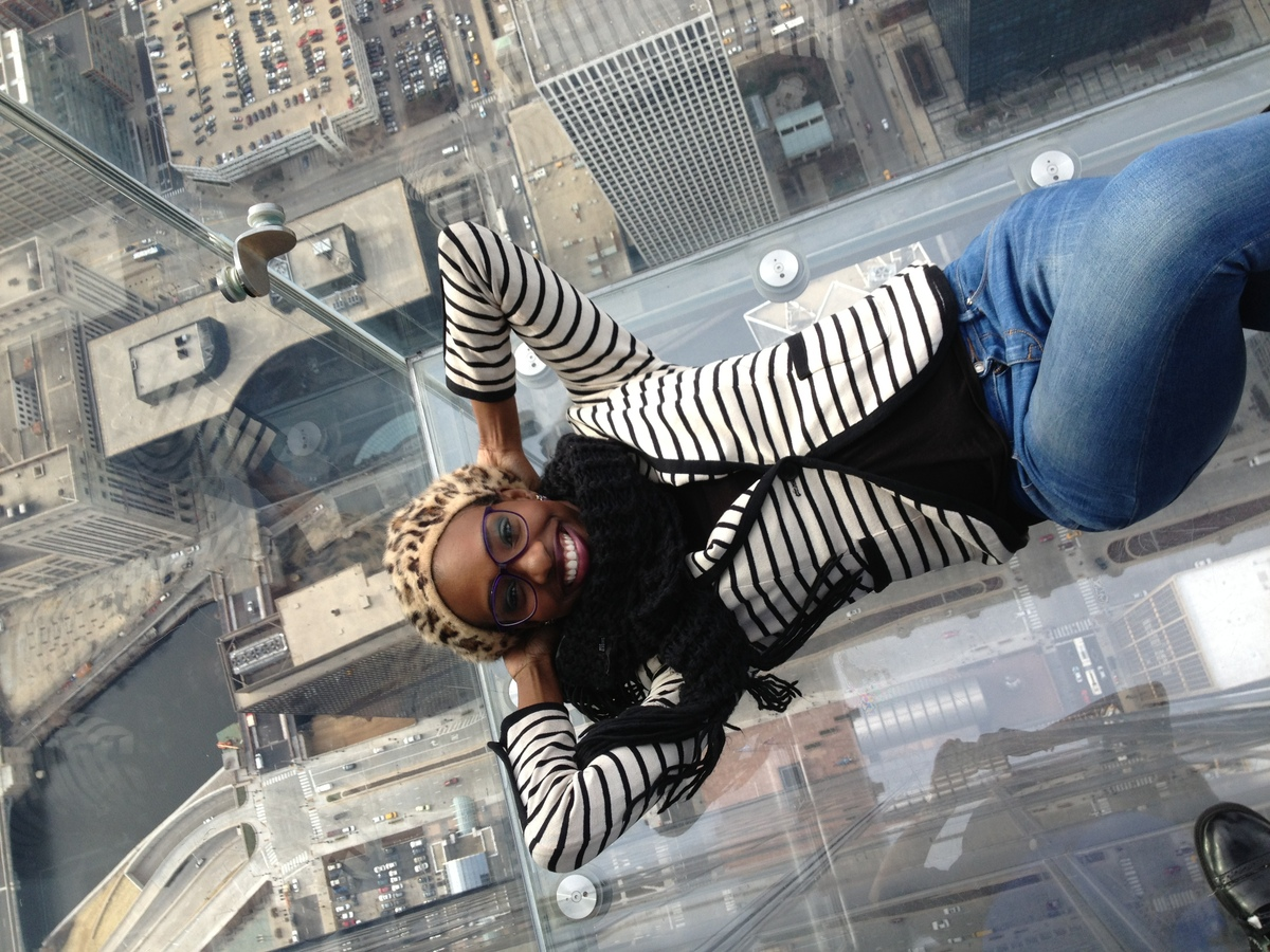 Here I am at Chicago's Sky Deck.