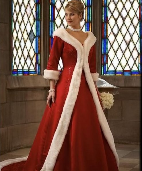 """In case you are marrying Santa Claus (or just want to look like him), this dress from <a href=""""http://www.starbridalapparel.c"""