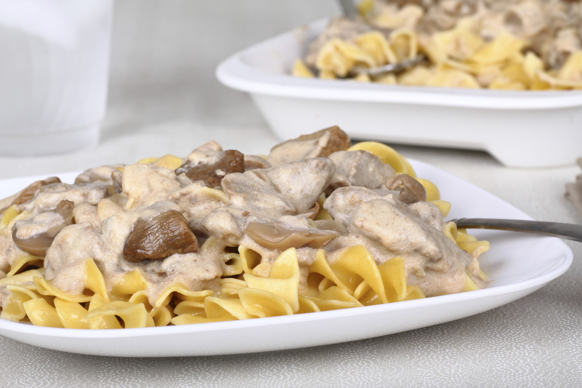 """Sautéed strips of beef with mushrooms in a sour-cream sauce over buttered noodles is a <a href=""""http://artofnaturalliving.com"""