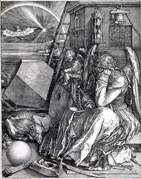 Melencolia I is a 1514 work by the German Renaissance artist Albrecht Dürer. In the top right hand of the oft-theorized print