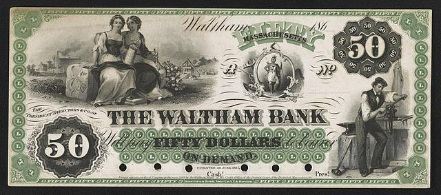 The Waltham Bank $50 private bank note proof, 1862.