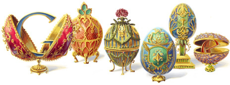 """<a href=""""http://www.google.com/doodles/peter-carl-faberges-166th-birthday"""">Faberge Doodle</a> Date: May 30, 2012 Occasion: Pe"""