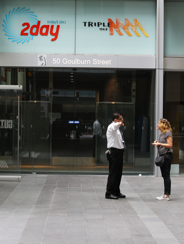 SYDNEY, AUSTRALIA - DECEMBER 08:  A security guard mans the entrance to the 2dayFm offiices in Goulburn Street on December 8,
