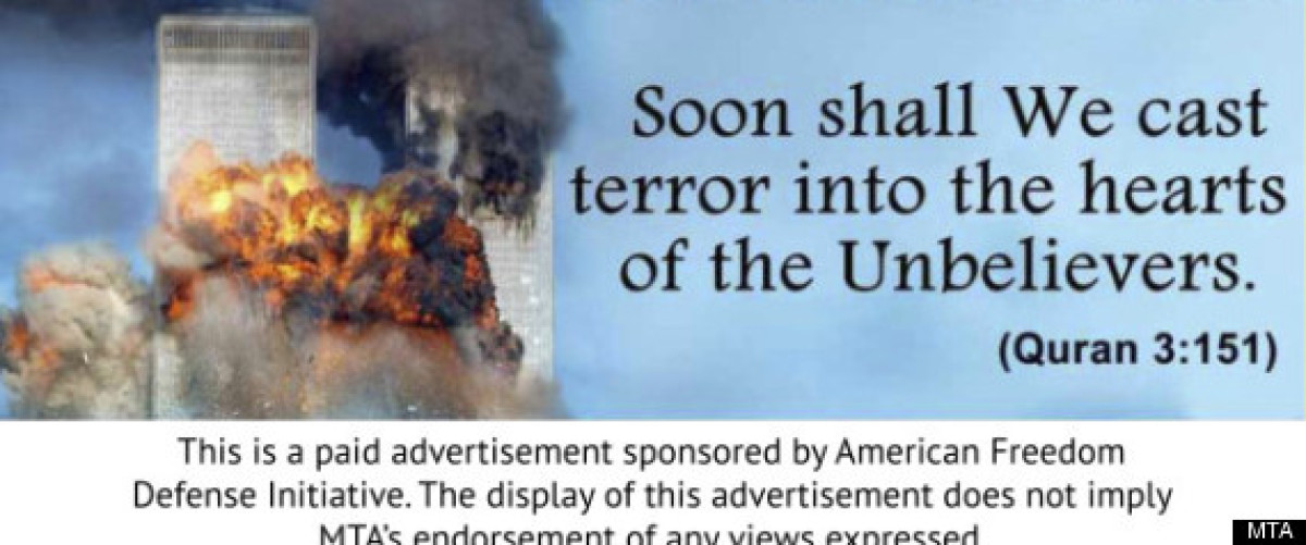 """In January, American Freedom Defense Initiative bought advertising space to feature these ads with the <a href=""""http://www.hu"""