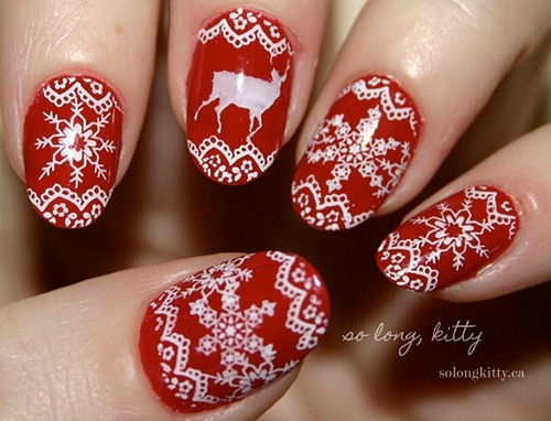Christmas nail art santa claus rudolph the red nosed reindeer christmas nail art prinsesfo Choice Image