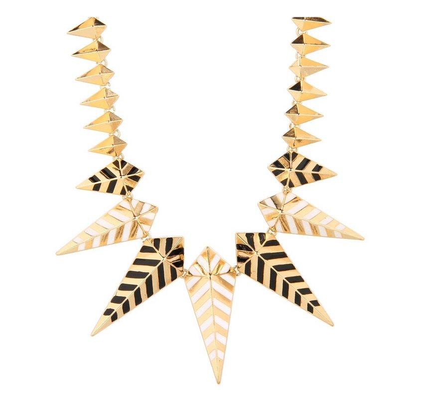 "<a href=""http://www.6pm.com/noir-jewelry-enamel-spike-necklace-black-white-gold?zfcTest=mat%3A1"">6pm.com</a>"