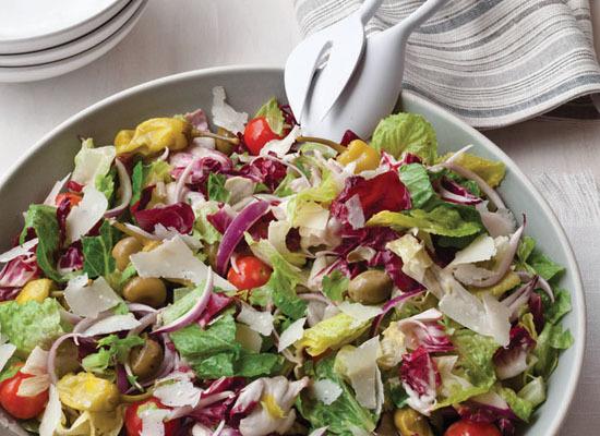 "<strong>Get the <a href=""http://www.huffingtonpost.com/2011/10/27/big-italian-salad_n_1059507.html"">Big Italian Salad recipe<"