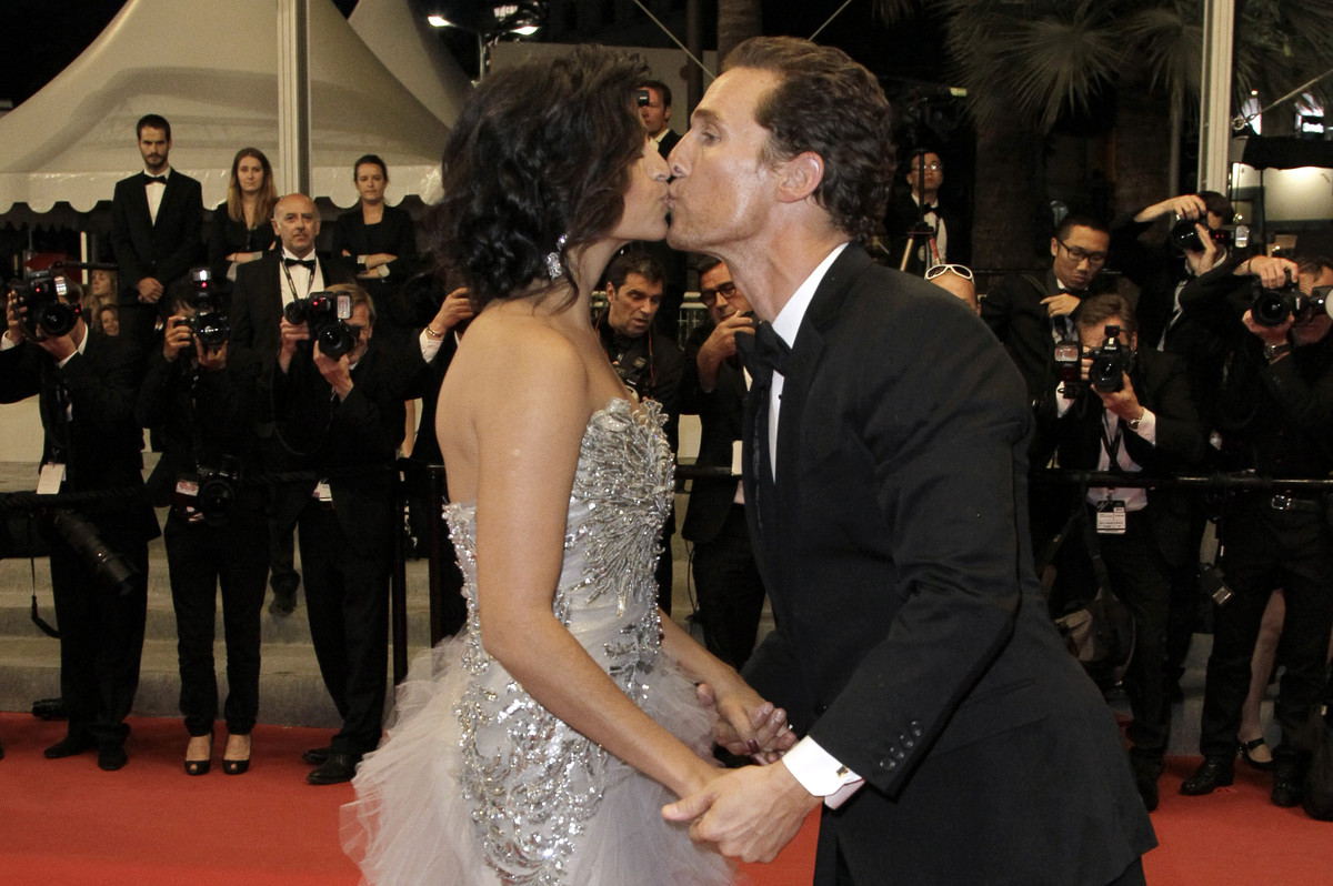 Matthew McConaughey shared a stiff smooch with wife Camila Alves at the Cannes Film Festival in May.