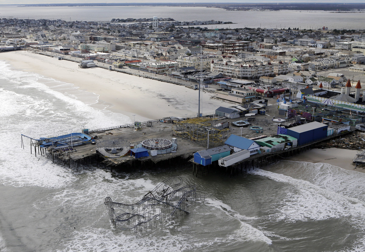 This Oct. 31, 2012 file aerial photo shows the damage to an amusement park left in the wake of Superstorm Sandy, in Seaside H