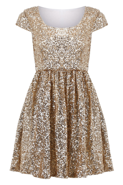"This adorable<a href=""http://www.romwe.com/paillettes-apricot-shift-dress-p-47798.html""> gold sequined party dress</a> with a"