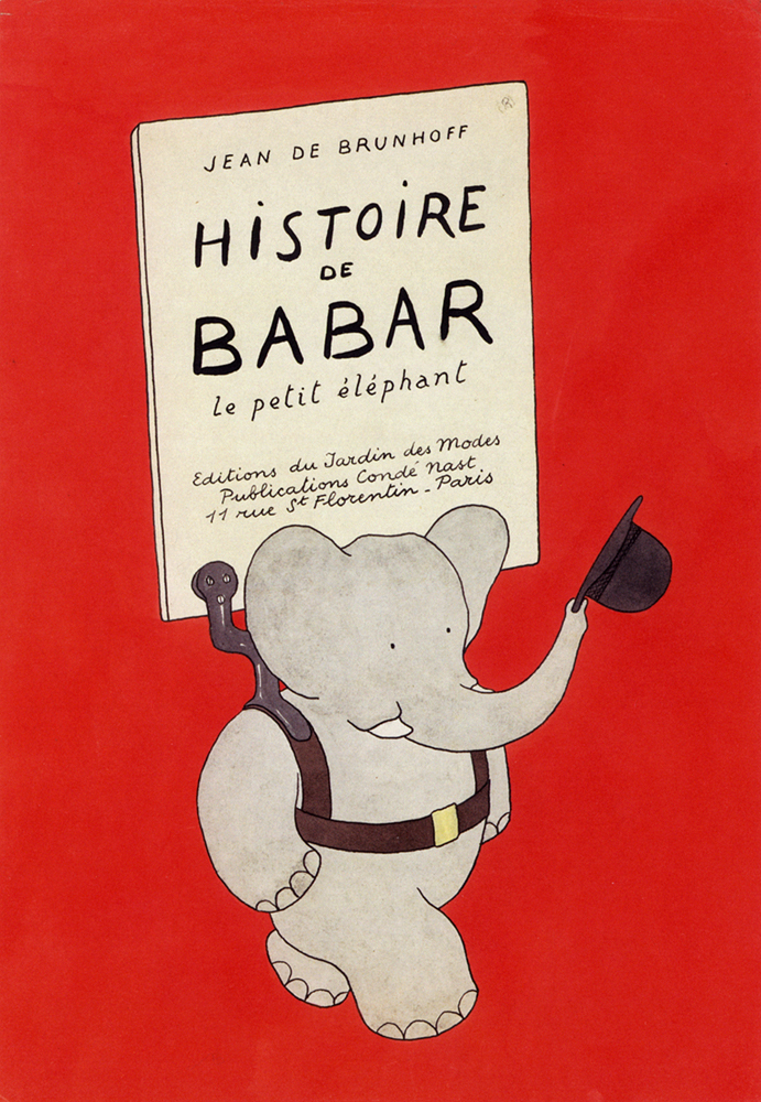 """Jean de Brunhoff Cover illustration published in the first Babar book, """"The Story of Babar,"""" French edition, 1931 Watercolor"""