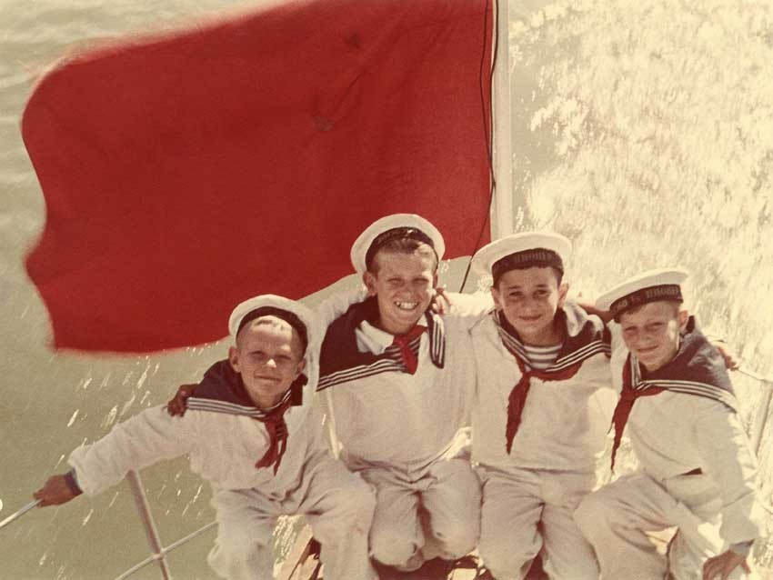 """Yakov Khalip, """"Sea cadets,"""" End of 1940s, Artist's colour print, On the reverse side text of congratulation to Alexander Rodc"""