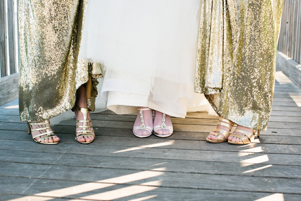 "Bridesmaids get in on the fun with sequined dresses.  <em>More glittering inspiration <a href=""http://lover.ly/search?q=spark"