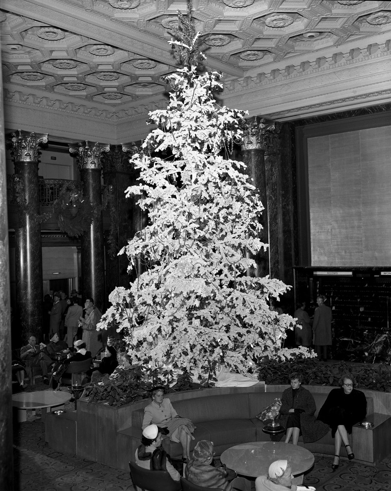 Christmas Tree in the lobby of St. Francis Hotel. December 15, 1954.