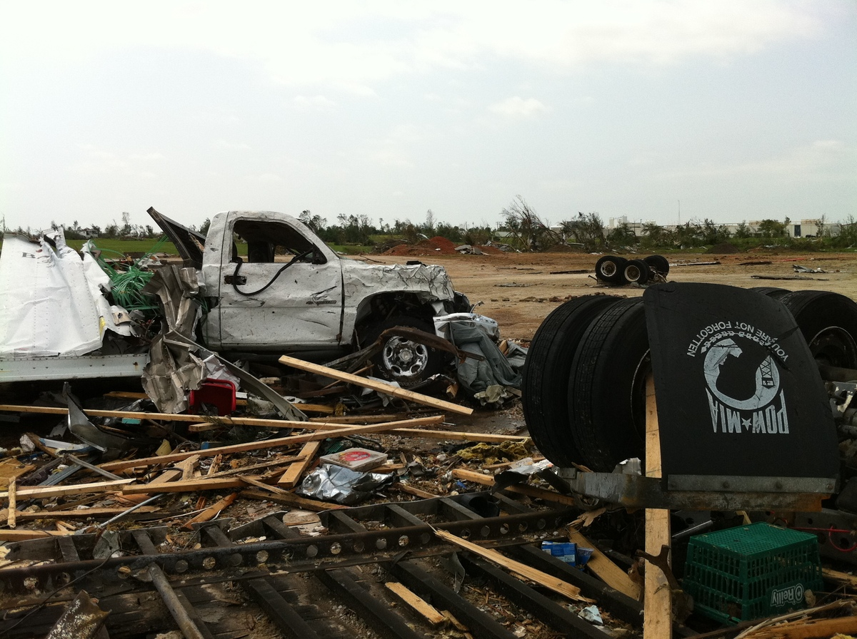 Truck where gym co-founder Kip Johnson was inside as the tornado ripped through Joplin, Mo., on May, 22, 2011.