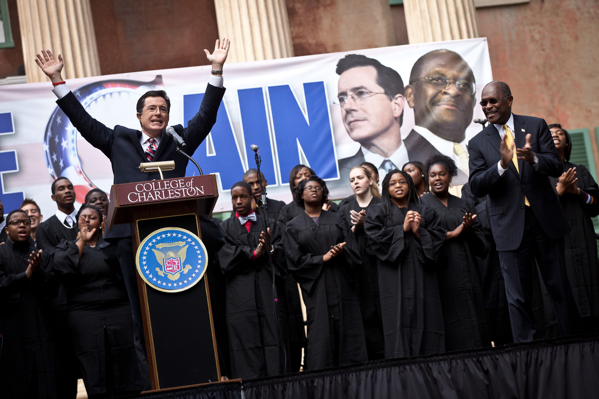 Colbert ran for president in the South Carolina primaries using Hermain Cain as proxy, as Cain had given up his bid for presi