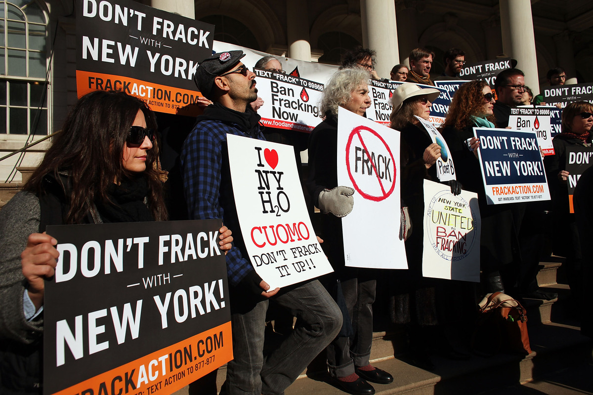 "In New York, opponents rallied against the controversial gas drilling method hydraulic fracturing, or ""fracking,"" on the step"