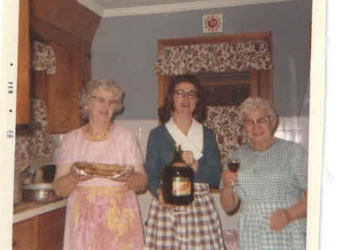 Christmas 1968 (I can tell because the film was developed in February 1969): Grandma Long (left), Nanny Crisafulli (right), a