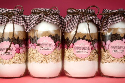 Fill a jar with all of the ingredients to make a recipe. Attach a copy of the recipe to the outside.