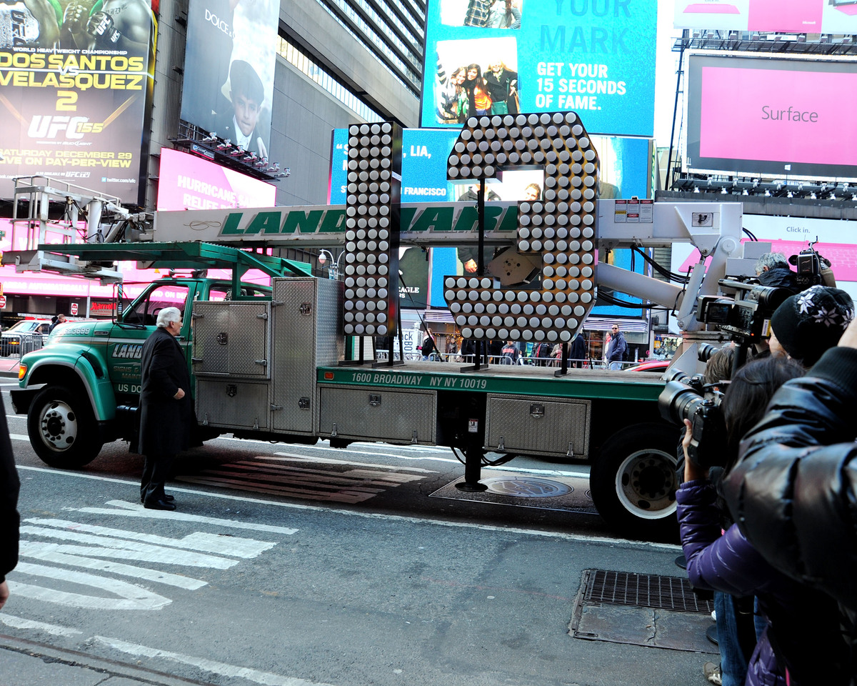 NEW YORK, NY - DECEMBER 19:  The number 13 arrives at Times Square for the 2013 New Years Eve Countdown, at Times Square on D